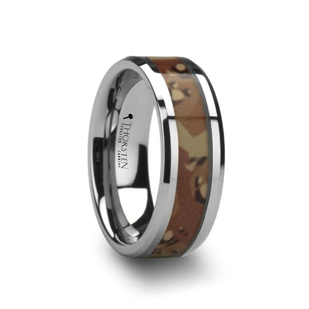 Military Style Desert Camo Inlay Tungsten Men's Wedding Ring - 8 mm
