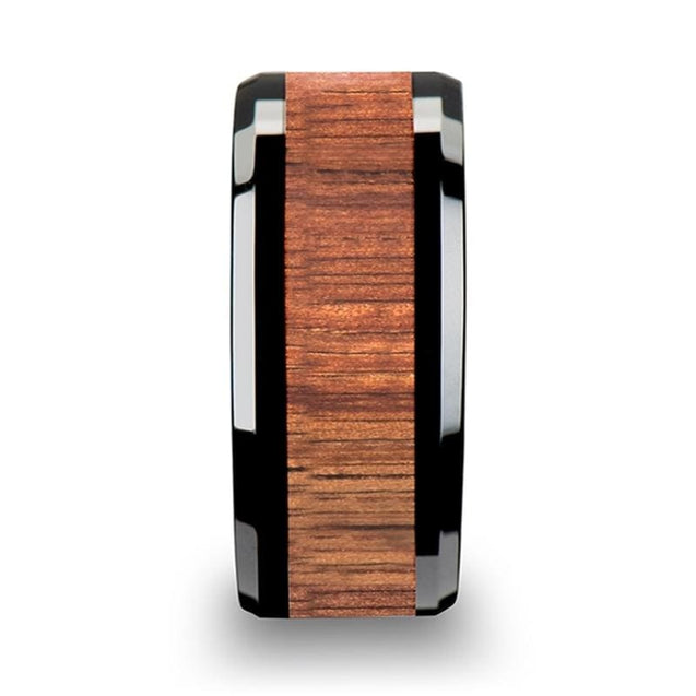MOLLY Black Extra Wide Ceramic Ring With Koa Wood Inlay Beveled Edges - 10mm