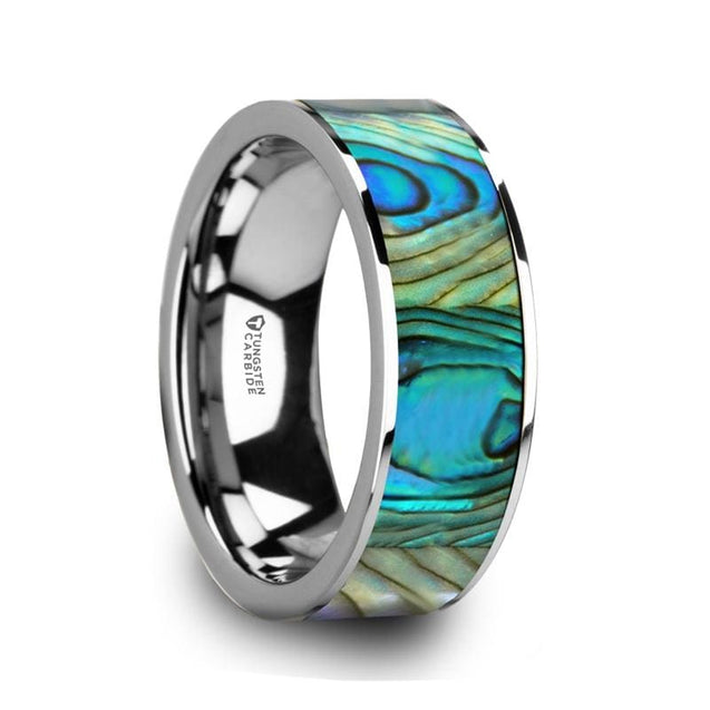 Mother Of Pearl Inlaid Men's Tungsten Carbide Wedding Ring Polished Finish - 8mm