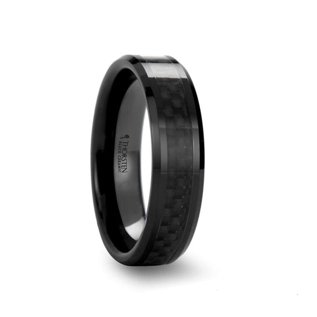 NATALIE Beveled Black Ceramic Ring W/ Black Carbon Fiber Inlay for Her - 4mm - 6mm