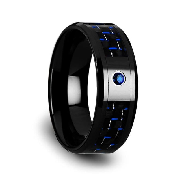 NATHANIEL Black Ceramic Ring with Black & Blue Carbon Fiber and Blue Sapphire Setting