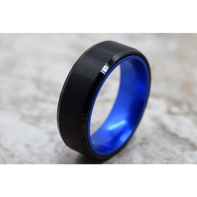 NIKOS Black Tungsten Ring With Royal Blue Anodized Aluminum Inner Band - 8mm