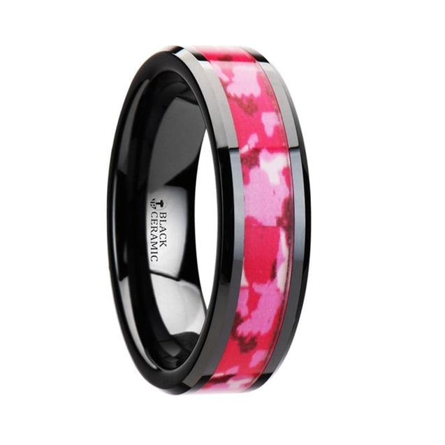 NOLA Polished Beveled Black Ceramic Ring with Pink & White Camo Inlay 6mm & 8mm