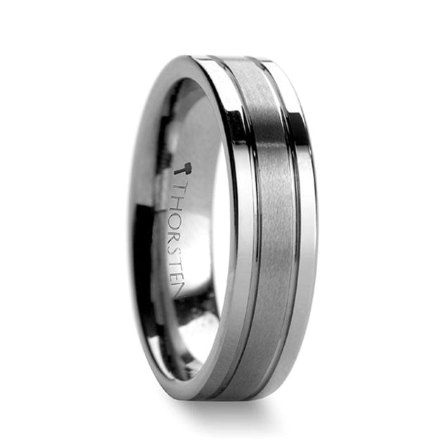 Offset Grooves & Satin Center Tungsten Ring with Flat Polished Edges - 6 mm & 8 mm