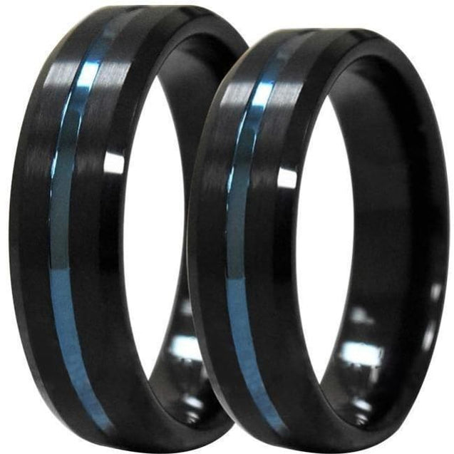 Orion Beveled Black Tungsten Wedding Band Set With Blue Grooved Center 6Mm & 8Mm - Wedding Bands