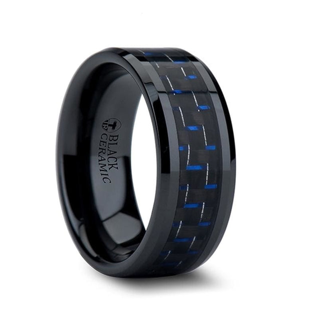 PANTHA Men's Wide Black Ceramic Ring with Black and Blue Carbon Fiber Inlay - 10mm