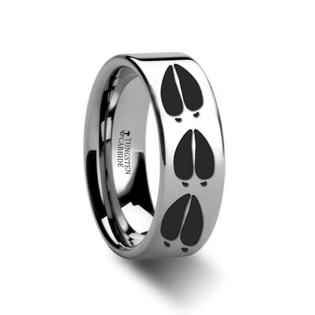 Pipe Cut Tungsten Ring with Animal Deer Track Mule Print Ring Engraved  4mm - 12mm