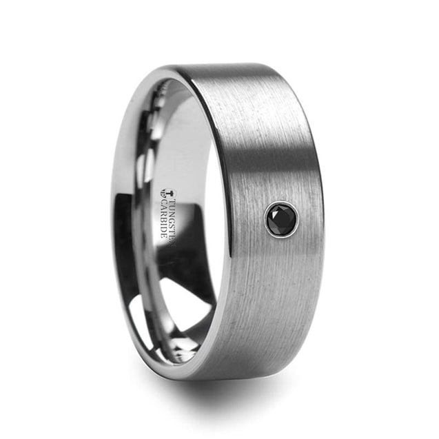 Pipe Cut Tungsten Wedding Ring With Black Diamond Setting Brushed Finish 6mm & 8mm