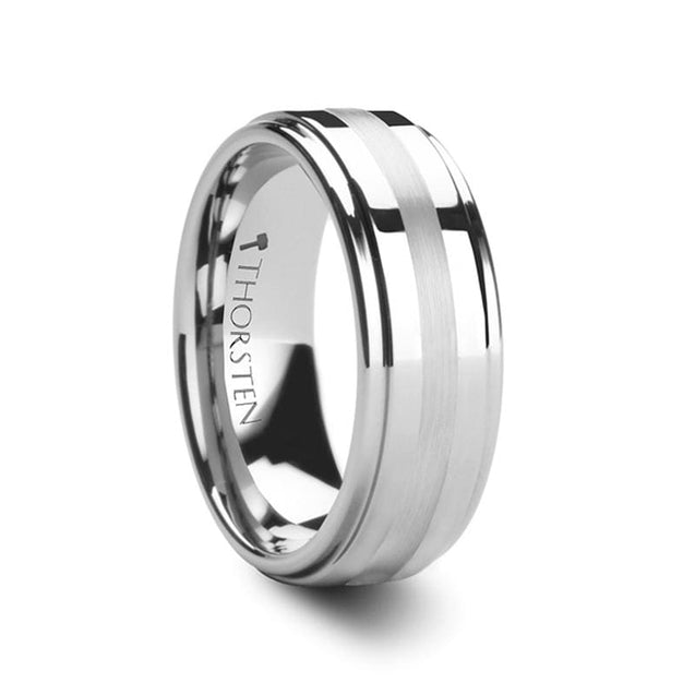 Platinum Inlaid Tungsten Carbide Ring With Raised Center Polished Finish - 6mm & 8mm