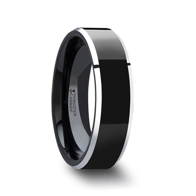 Polish Finished Center Black Tungsten Carbide Ring Metallic Beveled Edges 4mm - 8mm