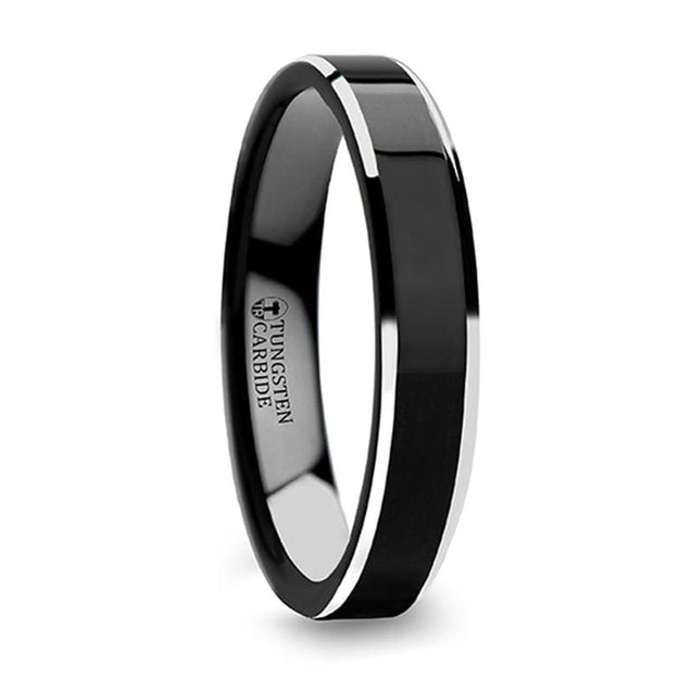 Polish Finished Center Black Tungsten Women's Ring with Metallic Beveled Edges - 4mm