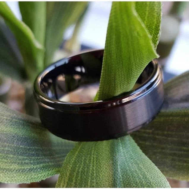Polished Black Tungsten Carbide Ring Stepped Edges & Brushed Center - 8mm