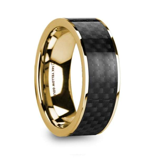 14k Yellow Gold Men's Wedding Ring  with Black Carbon Fiber Inlay Polished - 8mm