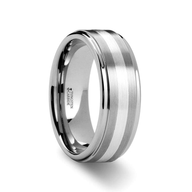 Raised Sating Finish Men's Tungsten Wedding Ring with Silver Inlay - 8 mm