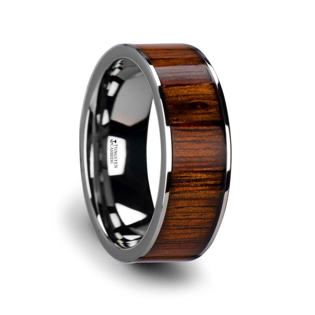 Rare Koa Wood Inlaid Flat Tungsten Wedding Band with Polished Edges 6mm - 10mm