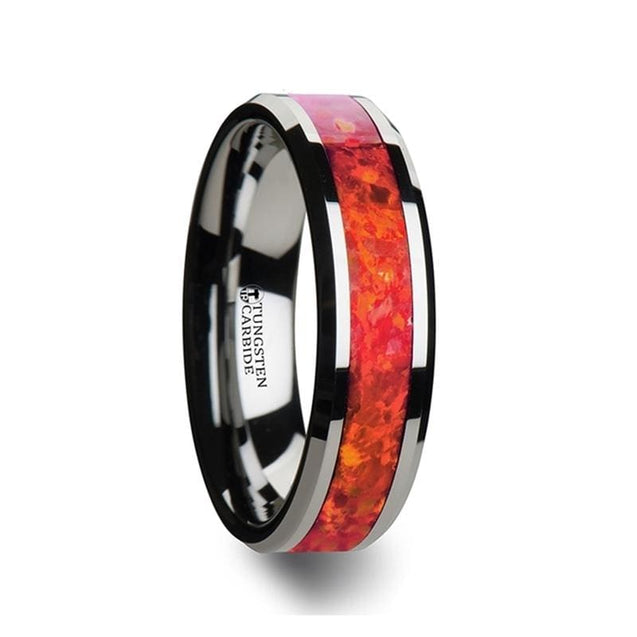 Red Opal Inlaid Tungsten Wedding Band Polished Beveled Edges 4mm - 8 mm