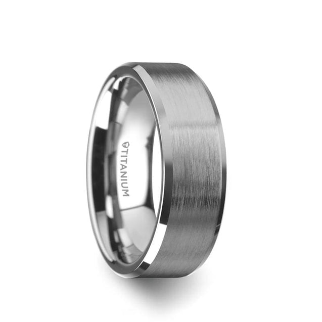 RILEY Brushed Center Titanium Men's Wedding Band with Beveled Edges - 6mm & 8mm