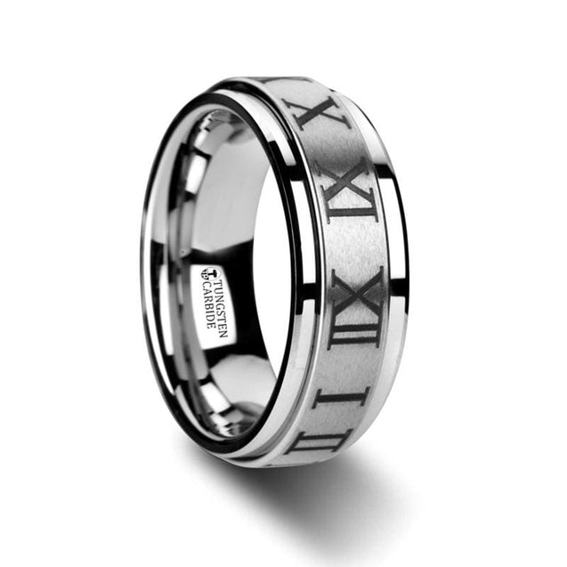Roma Men's Tungsten Ring with Roman Numerals & Stepped Edges - 8mm