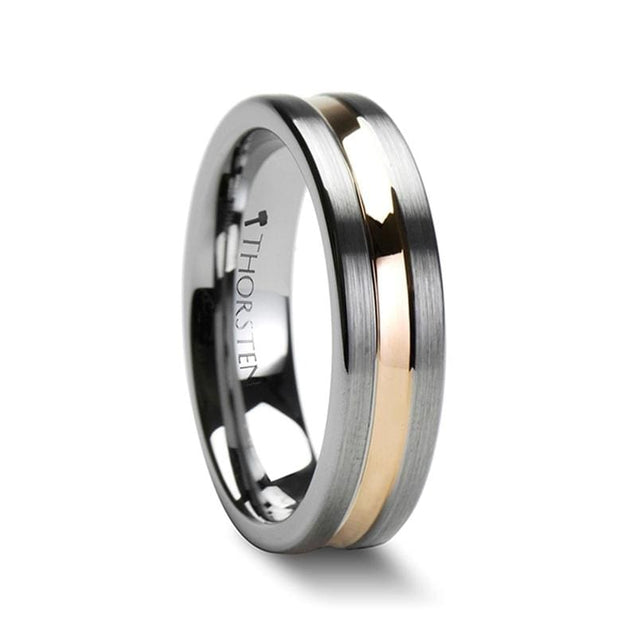 Rose Gold Plated Grooved Tungsten Wedding Band Flat Brushed Finish 4mm - 10mm
