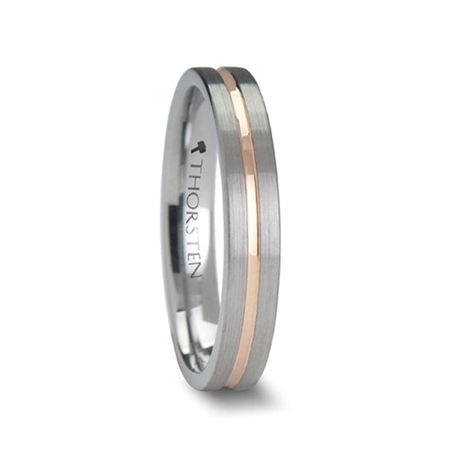Rose Gold Plated Grooved Tungsten Wedding Band Flat Brushed Finish 4Mm - 10Mm - Tungsten