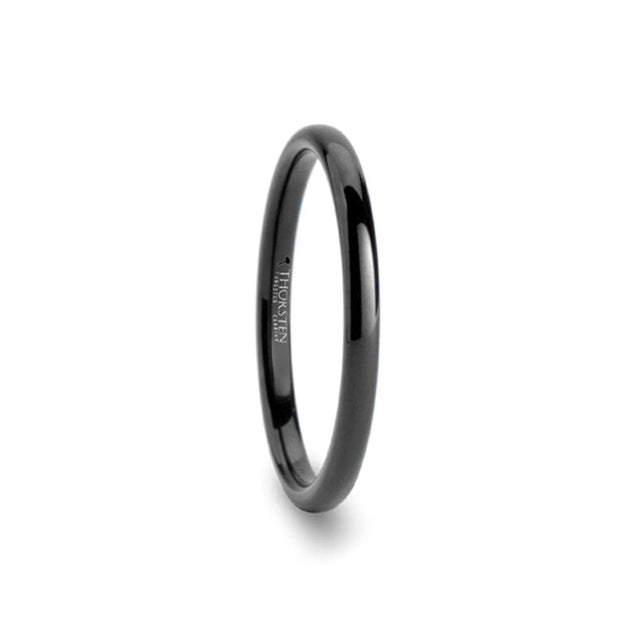 Rounded Black Tungsten Carbide Ring For Her Polished Finish - 2mm