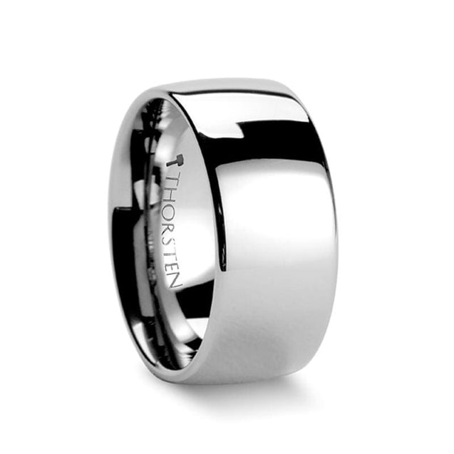 Rounded Men's Extra Wide Highly Polished Tungsten Carbide Wedding Band - 10mm