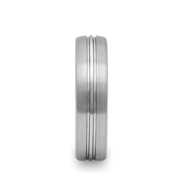 Rounded Tungsten Carbide Ring with Brushed Finish & Grooved Center - 6mm & 8mm