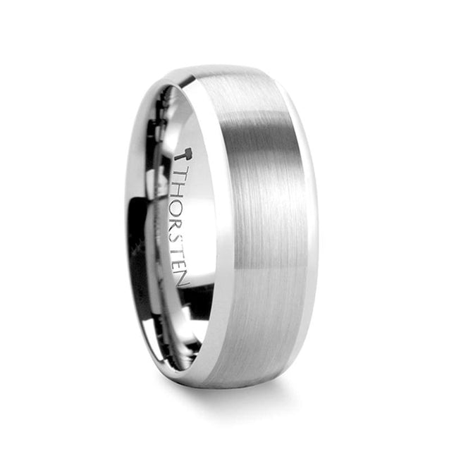 Rounded Tungsten Carbide Ring with Brushed Finish & Polished Edges - 6mm & 8mm
