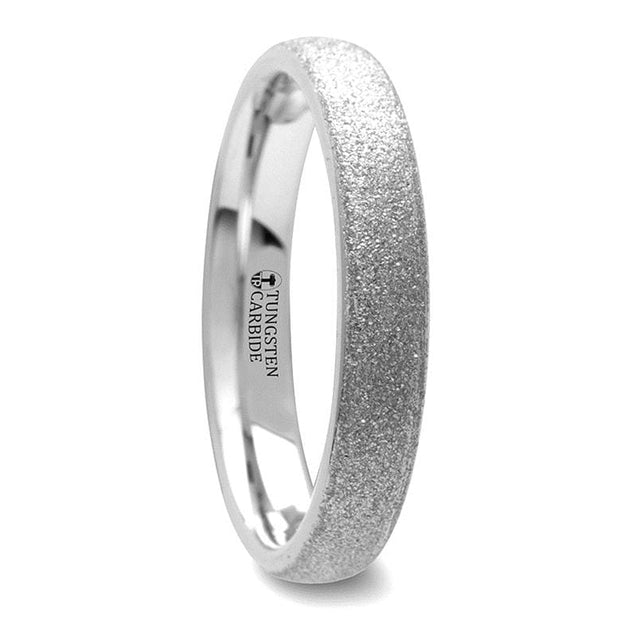 Rounded Tungsten Carbide Ring with Sandblasted Crystalline Finish  - 2mm - 8mm