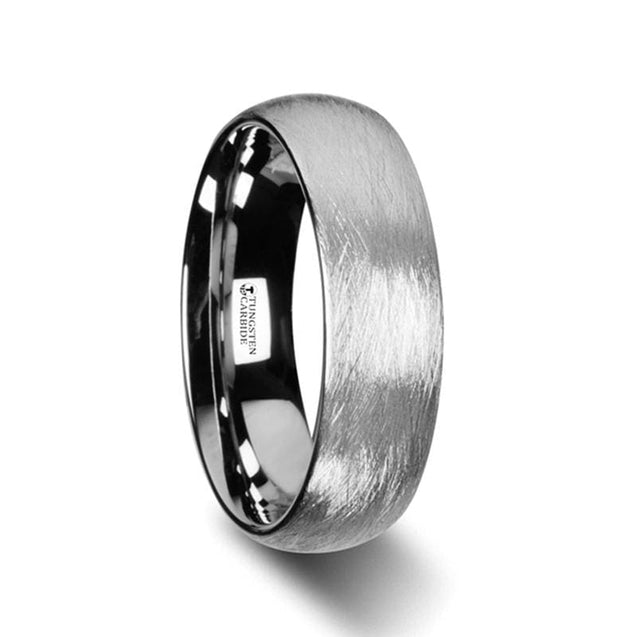 Rounded Tungsten Wedding Ring with Wire Brushed Finish Design - 6mm & 8mm