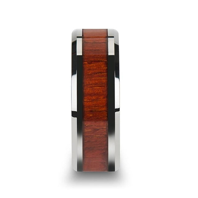 RYAN Padauk Wood Inlaid Titanium Wedding Band with Polished Beveled Edges  - 8mm