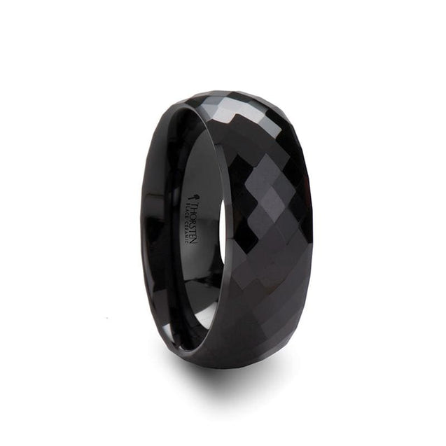 SABRIEL Diamond Faceted Black Ceramic Ring For Men & Women - 4mm - 8mm