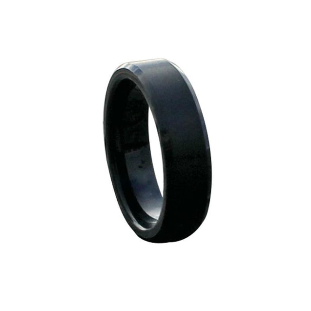 Samouel Beveled Black Tungsten Carbide Ring With Brushed Finish - 6mm