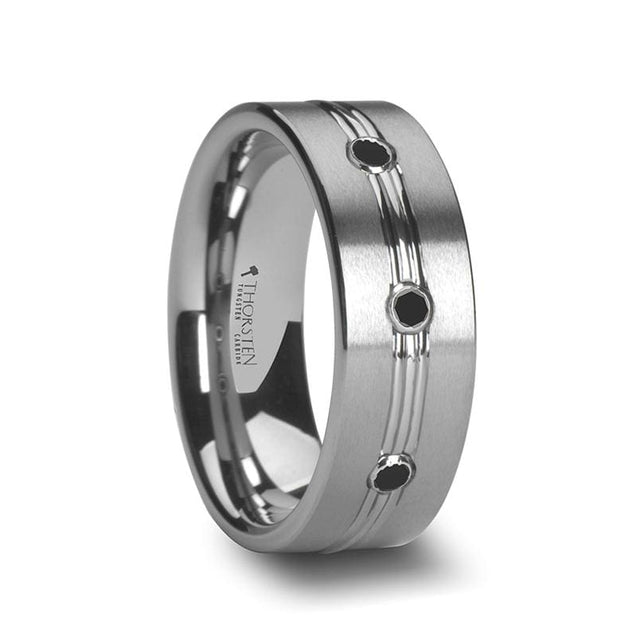 Satin Finished Tungsten Ring W/ Polished Grooved Center & Triple Black Diamonds - 8mm