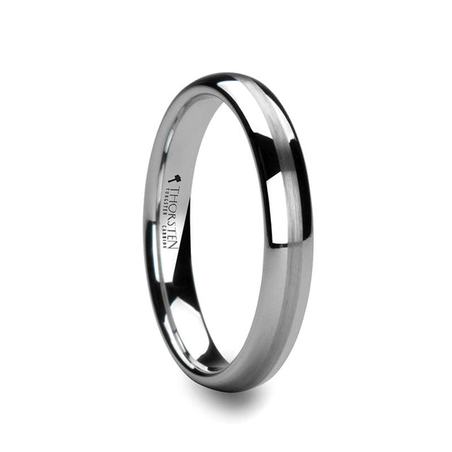 Satin Stripe  Domed White Tungsten Carbide Wedding Ring - 4mm - 8mm
