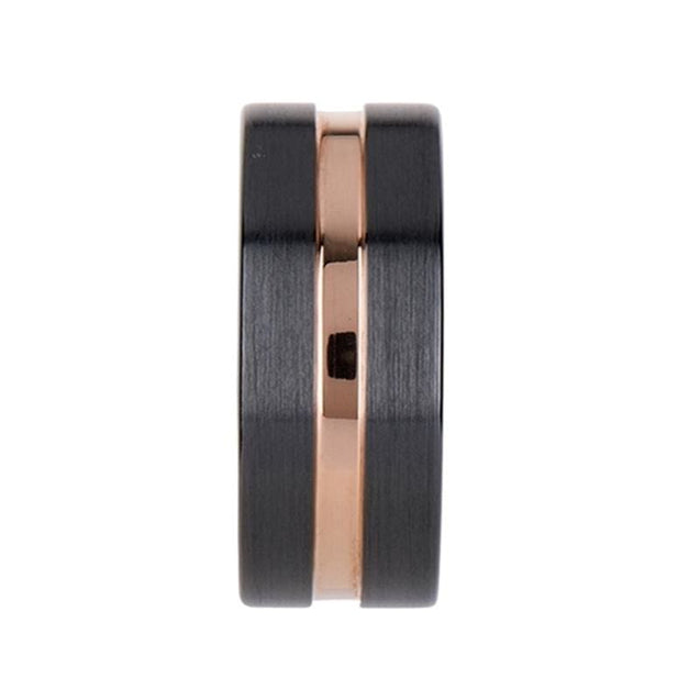 SAWYER Black Ceramic Wedding Ring with Rose Gold Grooved Center - 4mm - 10mm