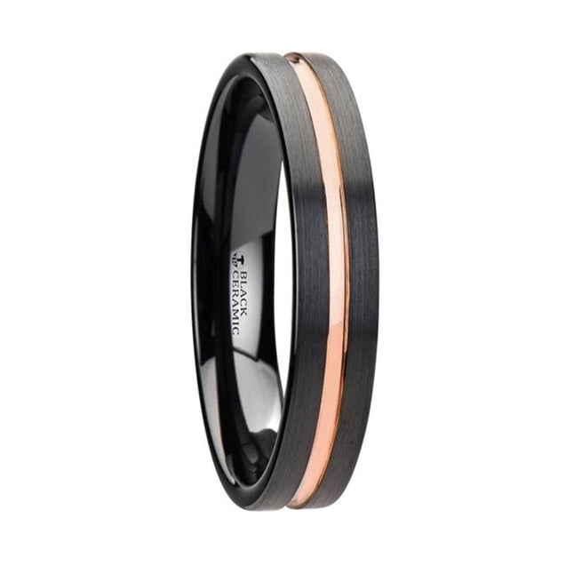 Sawyer Womens Flat Style Black Ceramic Wedding Band With Rose Gold Groove - 4Mm - Ceramic Rings