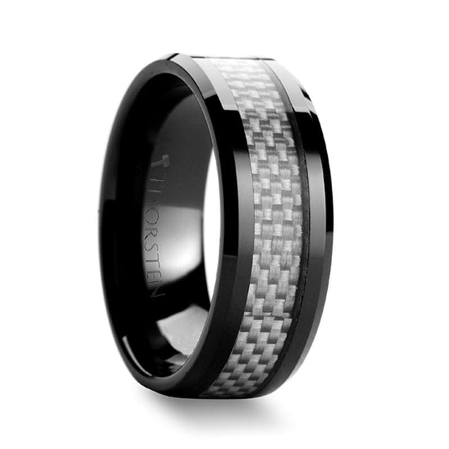 THEODORE Beveled Black Ceramic Wedding Ring with White Carbon Fiber Inlay- 8mm