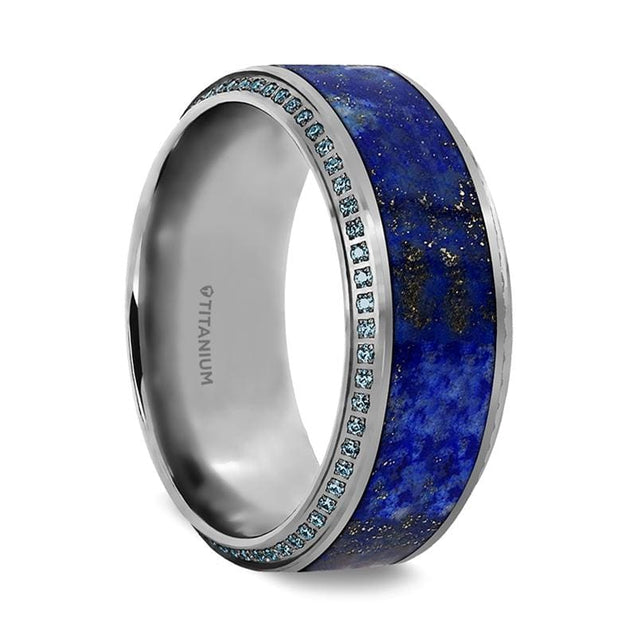 Titanium Ring Lapis Lazuli Inlaid & Beveled Edges Set with Round Blue Diamonds 10 mm