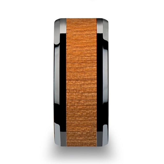 TRISTAN Beveled Black Ceramic Wedding Band with Black Cherry Wood Inlay 6mm-10mm