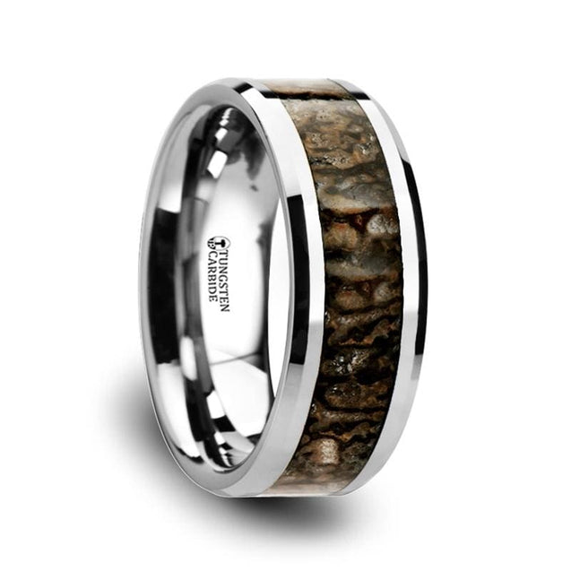 Tungsten Carbide Beveled Edged Ring Dinosaur Bone Inlaid - 4Mm & 8Mm - Tungsten