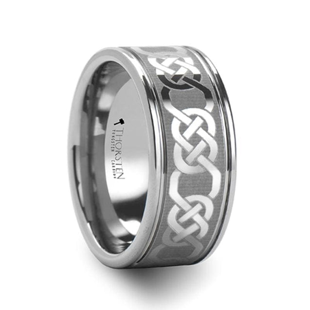 Tungsten Carbide Ring w/ Celtic Pattern Laser Engraving For Men & Women 6mm - 10mm