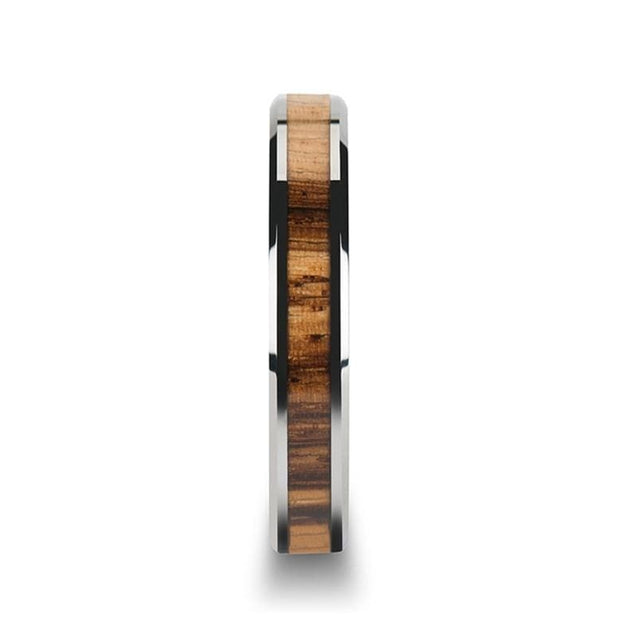 Tungsten Carbide Ring with Beveled Edges & Exotic Zebra Wood Inlay 4mm - 10mm