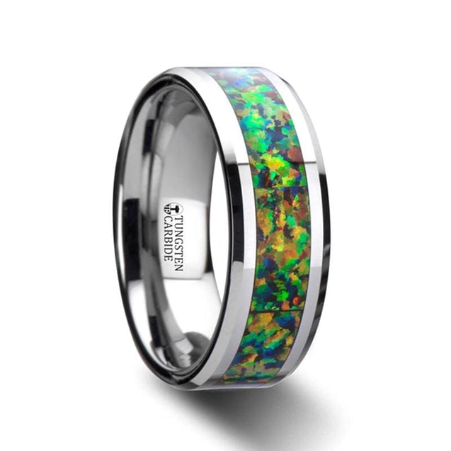 Tungsten Carbide  Ring with Blue & Orange Opal Inlay Men's Wedding Band  - 8mm