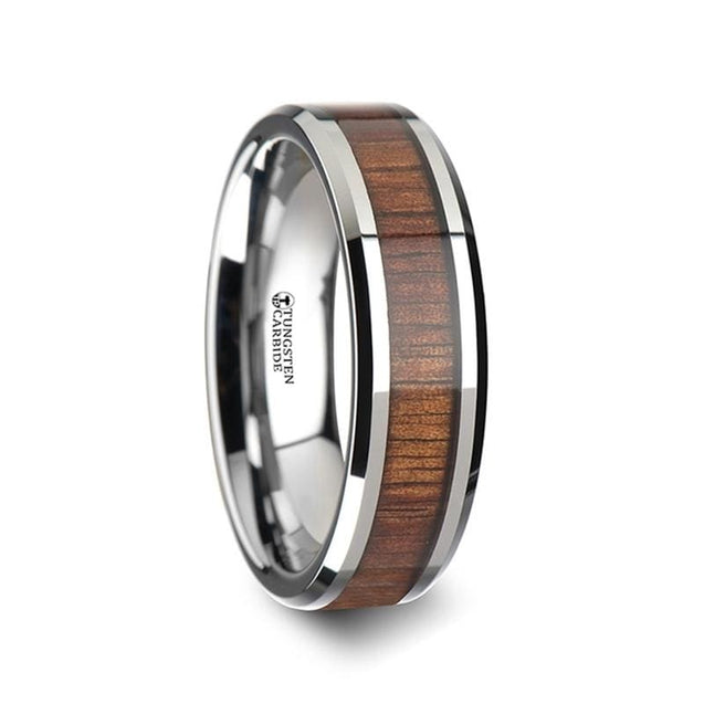 Tungsten Carbide Ring with Genuine Koa Wood Inlay Polished Beveled Edges 4mm - 12mm