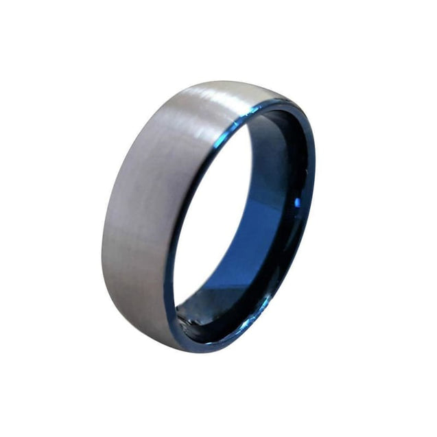 Tungsten Carbide Ring With Ion Plated Blue Inside And Curved Brushed Finish  - 8mm