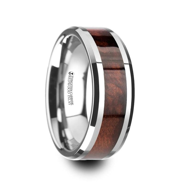 Tungsten Carbide Wedding Band with Red Wood Inlay Polished Beveled Edges - 8mm