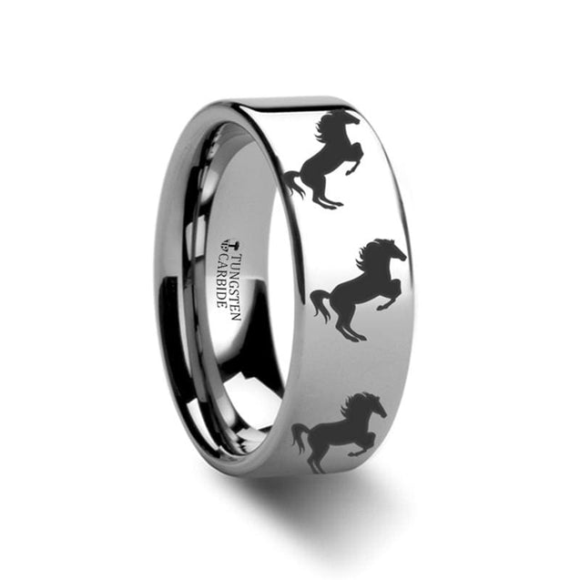 Tungsten Ring Pipe Cut High Polish Animal Horse Hind Legs Print Engraved 4mm - 12mm