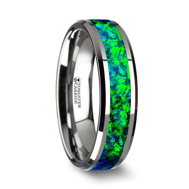 Tungsten Wedding Band with Emerald Green & Sapphire Blue Color Opal Inlay 6mm & 8mm