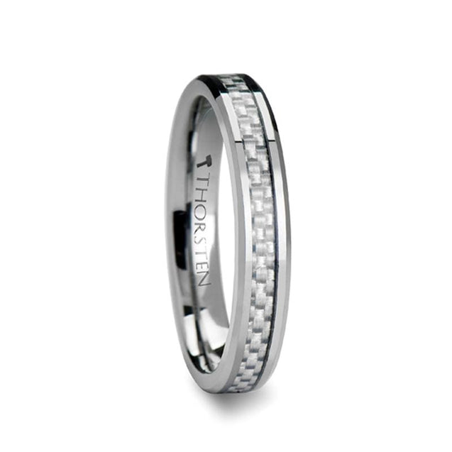 Tungsten Wedding Band With White Carbon Fiber Inlay & Beveled Edges  4mm - 6mm